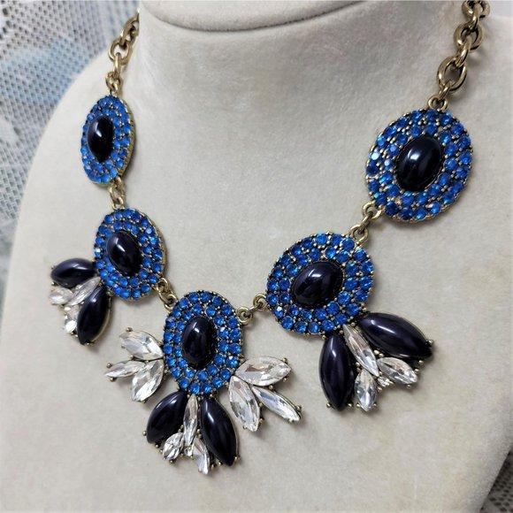 J Crew Necklace Marquise Shape Blue Black Necklace
